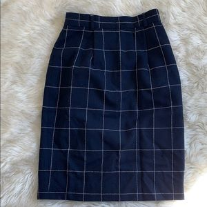 Vintage Navy Wool High Waist Pencil Skirt
